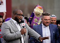 ATLANTA, GA - DECEMBER 7: Marcus Spears and Pat McAfee at ESPN College Game Day during a game between Georgia Bulldogs and LSU Tigers at Mercedes Benz Stadium on December 7, 2019 in Atlanta, Georgia.