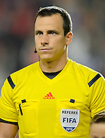 PRAGUE, Czech Republic - September 3, 2014: Referee Vad Istvan during the international friendly match between the Czech Republic and the USA at Generali Arena.