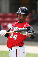 Juan Francisco of the Carolina Mudcats in the on-deck circle waiting to hit against  the Huntsville Stars on April 22, 2009 at Five County Stadium in Zebulon, NC