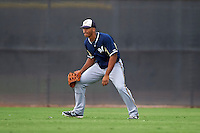Milwaukee Brewers Trent Clark (2) during an instructional league game against the San Diego Padres on October 6, 2015 at the Peoria Sports Complex in Peoria, Arizona.  (Mike Janes/Four Seam Images)