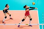 Setter Koyomi Tominaga of Japan (R) pass during the FIVB Volleyball World Grand Prix match between China vs Japan on July 21, 2017 in Hong Kong, China. Photo by Marcio Rodrigo Machado / Power Sport Images