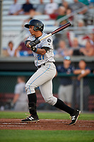 Hudson Valley Renegades third baseman Kaleo Johnson (27) follows through on a swing during a game against the Auburn Doubledays on September 5, 2018 at Falcon Park in Auburn, New York.  Hudson Valley defeated Auburn 11-5.  (Mike Janes/Four Seam Images)