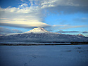 Turkey 2005 In winter, view on Mount Ararat, 5137 m, from the plain of Dogubayazit  Turquie 2005  Vue en hiver sur le mont Ararat, 5137 m,  de la plaine de Dogubayazit