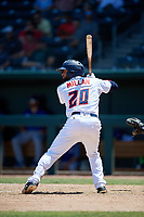 Jacksonville Jumbo Shrimp J.C. Millan (20) at bat during a Southern League game against the Tennessee Smokies on April 29, 2019 at Baseball Grounds of Jacksonville in Jacksonville, Florida.  Tennessee defeated Jacksonville 4-1.  (Mike Janes/Four Seam Images)