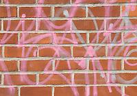 Brick Wall Covered with Graffiti, Monroe Street, Chinatown, New York City, New York State, USA