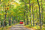 The Door County Trolley takes passengers through Peninsula State Park in Wisconsin. Taken at the start of the second week of October, the leaves were about a week or so from peak in the area.