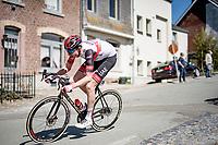 Vegard Stake Laengen (NOR/UAE-Emirates) descending the Côte de Stockeu<br /> <br /> 107th Liège-Bastogne-Liège 2021 (1.UWT)<br /> 1 day race from Liège to Liège (259km)<br /> <br /> ©kramon