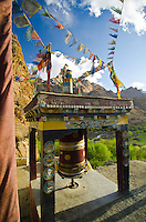 Buddhist prayer wheel at the Chamba Gompa in  Mulbekh, along the road from Srinagar to Leh, Northern India