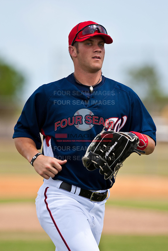 Bryce Harper of the Washington Nationals makes his professional debut in an Instructional League game against the Atlanta Braves at the Washington Nationals Training Complex. September 23, 2010 in Viera, Florida. Harper was the Washington Nationals 1st round pick (1st overall) of the 2010 MLB Draft. Photo By Scott Jontes/Four Seam Images