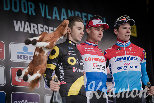 Mathieu Van Der Poel (NED/Correndon-Circus) wins his (only) 2nd World Tour race ever; the 74th Dwars door Vlaanderen 2019 (1.UWT) ahead of Anthony Turgis (FRA/Direct Energie) and Bob JUNGELS (LUX/Deceuninck-Quick Step)<br /> <br /> One day race from Roeselare to Waregem (BEL/183km)<br /> <br /> ©kramon