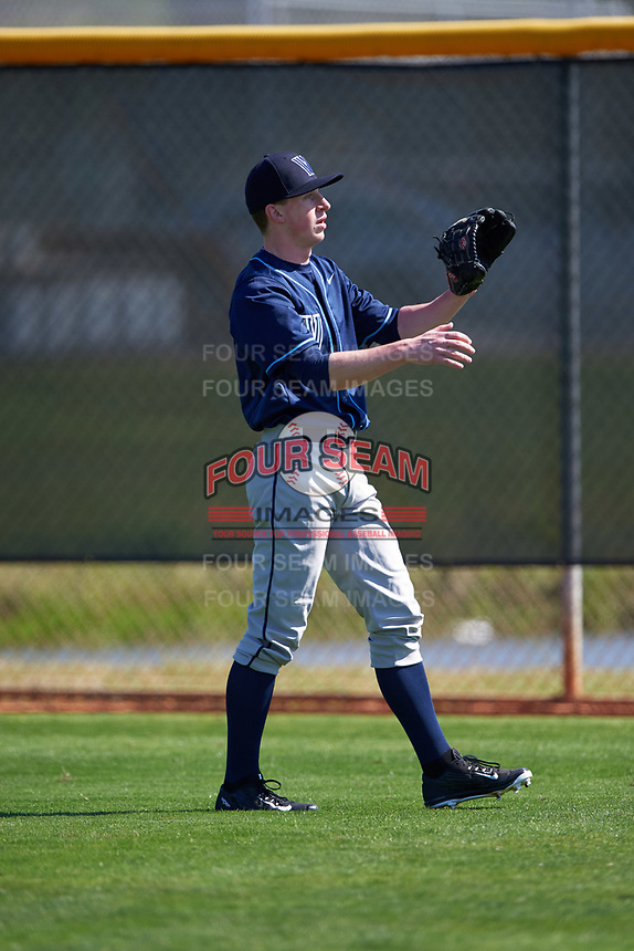 Villanova Wildcats pitcher Zach Lutner (11) warms up in the outfield before a game against the Dartmouth Big Green on February 27, 2016 at South Charlotte Regional Park in Punta Gorda, Florida.  Villanova defeated Dartmouth 14-1.  (Mike Janes/Four Seam Images)