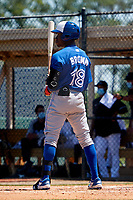Toronto Blue Jays Dasan Brown (18) bats during a Minor League Spring Training game against the Detroit Tigers on April 22, 2021 at Tigertown in Lakeland, Florida.  (Mike Janes/Four Seam Images)