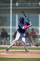 Minnesota Twins Jorge Fernandez (8) during a minor league Spring Training game against the Baltimore Orioles on March 17, 2017 at the Buck O'Neil Baseball Complex in Sarasota, Florida.  (Mike Janes/Four Seam Images)