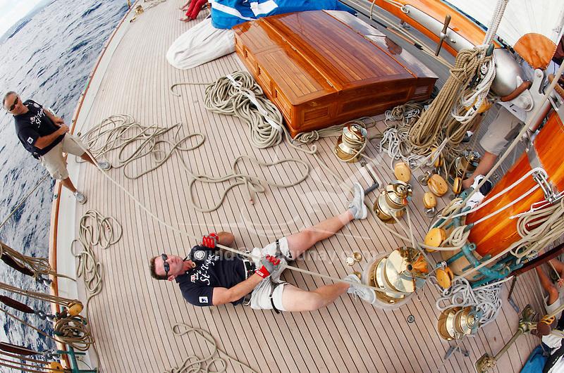 """Onboard the schooner Elena during """"Les voiles de saint Tropez"""", France."""