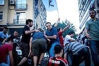 Copyright : Magali Corouge / Documentography<br />Istanbul, Turkey, the 8th of June 2013.<br /><br />Turkey's football fans demonstrates together in solidarity as part of the Gezi Park protests in Istanbul.