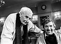 Lindsay Anderson, film director with Frank Grimes, actor 1990 CREDIT Geraint Lewis