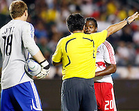 Head referee breaks up an altercation between Chivas USA Goalkeeper, Brad Guzan(18) and NY Red Bulls forward, Oscar Echeverry(20). Chivas USA  took on the NY Red Bulls on June 28, 2008 at the Home Depot Center in Carson, CA. The game ended in a 1-1 tie.