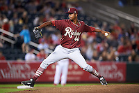 Frisco RoughRiders pitcher Victor Payano (44) delivers a pitch during a game against the Springfield Cardinals on June 3, 2015 at Hammons Field in Springfield, Missouri.  Springfield defeated Frisco 7-2.  (Mike Janes/Four Seam Images)