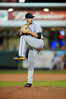 Jupiter Hammerheads relief pitcher Alejandro Mateo (17) delivers a pitch during a game against the Daytona Tortugas on April 13, 2018 at Jackie Robinson Ballpark in Daytona Beach, Florida.  Daytona defeated Jupiter 9-3.  (Mike Janes/Four Seam Images)