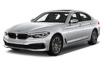 2019 BMW 5-Series 530I-Sport-Line 4 Door Sedan Angular Front automotive stock photos of front three quarter view