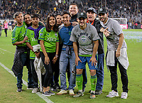 LOS ANGELES, CA - OCTOBER 29: Cristian Roldan #7 of the Seattle Sounders and his family celebrate their MLS Western Conference victory over Los Angeles FC during a game between Seattle Sounders FC and Los Angeles FC at Banc of California Stadium on October 29, 2019 in Los Angeles, California.