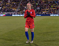 COLUMBUS, OH - NOVEMBER 07: Becky Sauerbrunn #4 of the United States warms up during a game between Sweden and USWNT at Mapfre Stadium on November 07, 2019 in Columbus, Ohio.