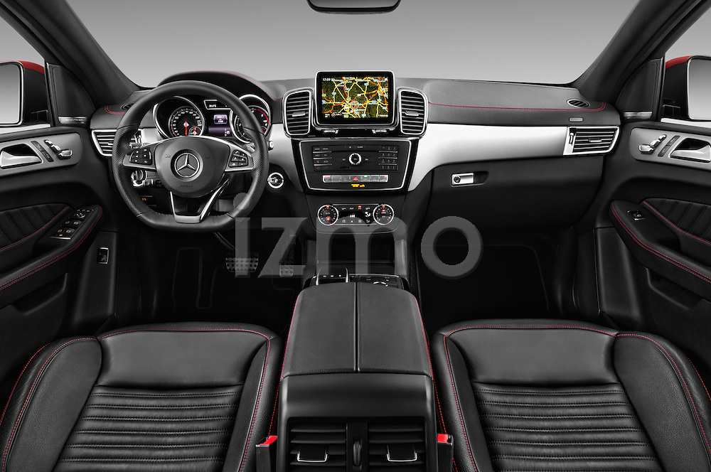 Stock photo of straight dashboard view of 2016 Mercedes Benz GLE-Coupe - 5 Door Suv Dashboard