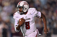 Louisiana Lafayette quarterback Terrance Broadway (8) rushes with the ball during first half of an NCAA football game, Tuesday, October 14, 2014 in San Marcos, Tex. Louisiana Lafayette leads 21-3 at the halftime. (Mo Khursheed/TFV Media via AP Images)