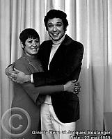 Sujet : Ginette Reno et Jacques Boulanger<br /> Date : 22 mai 1969<br /> Photographe : Photo Moderne<br /> Collection : Jocelyn Paquet<br /> Numéro : DSC32968<br /> Historique de diffusion: