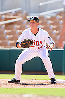 Glendale Desert Dogs first baseman Max Kepler (16), of the Minnesota Twins organization, during an Arizona Fall League game against the Mesa Solar Sox on October 8, 2013 at Camelback Ranch Stadium in Glendale, Arizona.  The game ended in an 8-8 tie after 11 innings.  (Mike Janes/Four Seam Images)