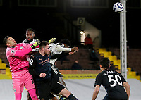 13th March 2021, Craven Cottage, London, England;  Manchester Citys goalkeeper Ederson punches the ball clear during the English Premier League match between Fulham and Manchester City at Craven Cottage in London