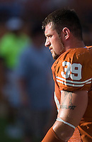 30 September 2006: Texas defensive end Brian Robison, who injured his leg during last week's game, pauses during warmups prior to the Longhorns 56-3 victory over the Sam Houston State Bearkats at Darrell K Royal Memorial Stadium in Austin, TX.