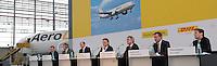 Pressekonferenz und Eröffnungszeremonie der Zusammenarbeit von DHL und Lufthansa Cargo als AeroLogic - Luftfracht Air Cargo Post - mit 8 Boeing 777 (B777F) wird begonnen -  im Bild: Podium zur PK - v.l.n.r.  Thomas Pusch (AeroLogic Gesch?ftsf?hrer), Charlie Dobbie (DHL Express), Christof Erhart (Deutsche Post DHL) , Frank Appel ( DHL Deutsche Post), Wolfgang Mayrhuber (Deutsche Lufthansa), Carsten Spohr (Lufthansa Cargo) und Thomas Papke ( AeroLogic Gesch?ftsf?hrer). Foto: Norman Rembarz..