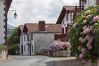 France, Pyrénées-Atlantiques (64), Pays-Basque, Itxassou:  Maisons basques // France, Pyrenees Atlantiques, Basque Country,  Itxassou: Basque houses
