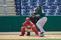 Daytona Tortugas Jonathan Reynoso (40) bats in front of catcher Gabriel Lino and umpire Jordan Johnson during a game against the Clearwater Threshers on April 20, 2016 at Bright House Field in Clearwater, Florida.  Clearwater defeated Daytona 4-2.  (Mike Janes/Four Seam Images)