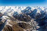 Snow covered Himalayas from the air. Ladakh, India.