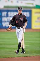 Erie SeaWolves shortstop A.J. Simcox (18) walks to the dugout before a game against the New Hampshire Fisher Cats on June 20, 2018 at UPMC Park in Erie, Pennsylvania.  New Hampshire defeated Erie 10-9.  (Mike Janes/Four Seam Images)