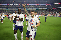 LAS VEGAS, NV - AUGUST 1: Paul Arriola #7 of the United States celebrates after a game between Mexico and USMNT at Allegiant Stadium on August 1, 2021 in Las Vegas, Nevada.