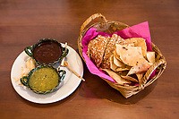 Oaxaca, Mexico, North America.  Chips and Salsa, Mexican Colors.  La Olla Restaurant.