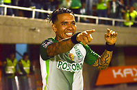 ENVIGADO-COLOMBIA- 24-09-2017.Dayro Moreno jugador del Atlético Nacional celebra su gol contra el Enviagdo FC durante encuentro  por la fecha 13 de la Liga Aguila II 2017 disputado en el estadio Polideportivo Sur./ Dayro Moreno player of Atletico Nacional celebrates his goal agaisnt  of Envigado FC during match for the date 13 of the Aguila League II 2017 played at Polideportivo Sur stadium . Photo:VizzorImage / León Monsalve / Contribuidor