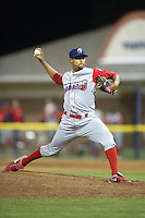 Williamsport Crosscutters pitcher Geoff Broussard #15 during a NY-Penn League game against the Batavia Muckdogs at Dwyer Stadium on August 11, 2012 in Batavia, New York.  Williamsport defeated Batavia 5-4.  (Mike Janes/Four Seam Images)