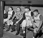 Pittsburgh PA:  View of the dugout during the 1966 HYPO (help young players organize) Game between the Pittsburgh Pirates and Milwaukee Braves.  Celebrities include: Pie Traynor (far left), Pirate Pitcher Jim Weaver and Radio Personality Bill Hillgrove.<br /> At this time, Bill Hillgrove worked for KDKA Radio FM 93.7 the Fan.  Before the game, the Pirate Old Timers played a few innings against local TV and Radio personalities.