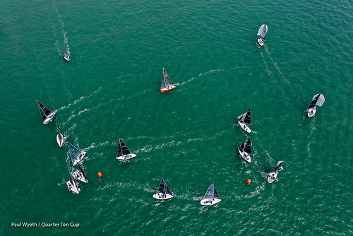 An aerial view of the 2021 Quarter Ton Cup fleet in Cowes Photo: Paul Wyeth
