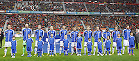Finland's players before international match of the qualifiers for the FIFA World Cup Brazil 2014.March 22,2013.(ALTERPHOTOS/Victor Blanco)