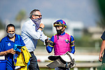 September 26, 2020:  Tim Yakteen and Juan Hernandez after winning the Rodeo Drive Stakes at Santa Anita Park, in Arcadia, California on September 26, 2020.  Evers/Eclipse Sportswire/CSM