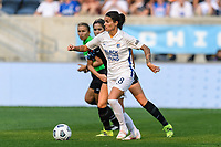 BRIDGEVIEW, IL - JULY 18: Dzsenifer Marozsan #8 of the OL Reign dribbles the ball during a game between OL Reign and Chicago Red Stars at SeatGeek Stadium on July 18, 2021 in Bridgeview, Illinois.