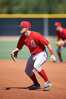 Los Angeles Angels of Anaheim Jared Walsh (31) during an Instructional League game against the Colorado Rockies on October 6, 2016 at the Tempe Diablo Stadium Complex in Tempe, Arizona.  (Mike Janes/Four Seam Images)