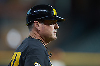 Missouri Tigers Todd Butler (22) coaches third base during the game against the Texas Longhorns in game eight of the 2020 Shriners Hospitals for Children College Classic at Minute Maid Park on March 1, 2020 in Houston, Texas. The Tigers defeated the Longhorns 9-8. (Brian Westerholt/Four Seam Images)