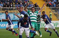 BOGOTÁ - COLOMBIA, 23-02-2019:John Edison Garcia (Der.) jugador de La Equidad  disputa el balón con Matias de Los Santos (Izq.) jugador de Millonarios  durante partido por la fecha 6 de la Liga Águila I 2019 jugado en el estadio Metropolitano de Techo de la ciudad de Bogotá. /John Edison Garcia (R) player of La Equidad fights the ball  against of Matias de Los Santos(L) player of Millonarios  during the match for the date 6 of the Liga Aguila I 2019 played at the Metropolitano de Techo  stadium in Bogota city. Photo: VizzorImage / Felipe Caicedo / Staff.