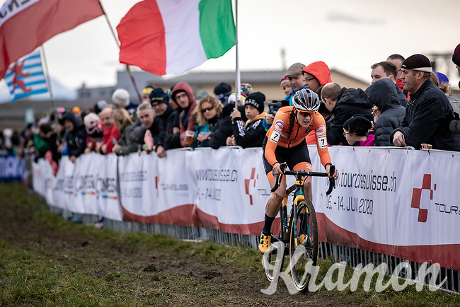 Lucinad Brand (NED) chasing the race leaders <br /> <br /> Women's Elite Race<br /> UCI 2020 Cyclocross World Championships<br /> Dübendorf / Switzerland<br /> <br /> ©kramon